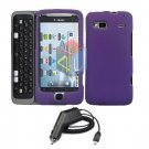 For HTC Desire Z Car Charger + Cover Hard Case Purple