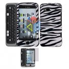 For HTC Desire Z Protector Screen + Cover Hard Case Zebra