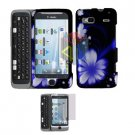 For HTC Desire Z Protector Screen + Cover Hard Case B-Flower