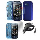 For LG Rumour Plus Car Charger + Hard Case Blue +Screen