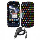 For LG Sentio GS505 Car Charger +Cover Hard Case R-Dot