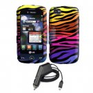 For LG Sentio GS505 Car Charger +Cover Hard Case C-Zebra