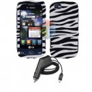 For LG Sentio GS505 Car Charger +Cover Hard Case Zebra