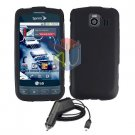For LG Optimus-S / LS670 Car Charger +Cover Hard Case Rubberized Black 2-in-1