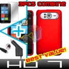 FOR HTC HD7 HD 7 Car Charger + Hard Case Red + Screen 3-in-1