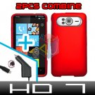 FOR HTC HD7 HD 7 Car Charger + Cover Hard Case Red 2-in-1