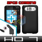 FOR HTC HD7 HD 7 Car Charger + Cover Hard Case Rubberized Black 2-in-1