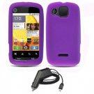 FOR Motorola Citrus wx445 Car Charger +Silicon soft case Purple