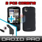 For Motorola Droid Pro A957 Car Charger +Hard Case Rubberized Black 2-in-1