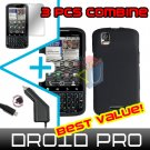For Motorola Droid Pro A957 Car Charger +Hard Case Rubberized Black +Screen 3-in-1