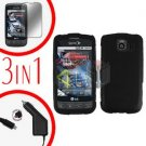 For LG Optimus-S / LS670 Screen +Car Charger +Hard Case Rubberized Black  3-in-1