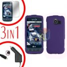 For LG Optimus-S / LS670 Screen +Car Charger +Hard Case Rubberized Purple 3-in-1