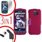 For LG Optimus-S / LS670 Screen +Car Charger +Hard Case Rubberized Rose Pink 3-in-1