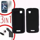 For Motorola Droid Pro A957 Screen +Car Charger +Silcon Skin Black Case 3-in-1