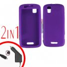 For Motorola Droid Pro A957 Car Charger +Silcon Skin Purple Case 2-in-1