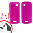 For Motorola Droid Pro A957 Car Charger +Silcon Skin Hot Pink Case 2-in-1