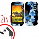 For HTC T-Mobile Mytouch 4g Car Charger +Cover Hard Case Flower
