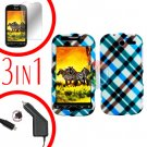 For HTC MyTouch 4G / Panache 4G Car Charger +Hard Case Plaid +Screen 3-in1