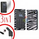 For Sanyo innuendo Car Charger +Hard Case Zebra +Screen 3-in1