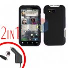 For Motorola Defy MB525 Car Charger + Cover Hard Case Rubberized Black 2-in-1