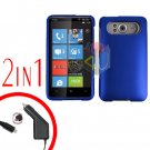 FOR HTC HD7 HD 7 Car Charger + Cover Hard Case Rubberized Blue 2-in-1