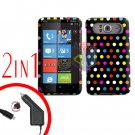 FOR HTC HD7 HD 7 Car Charger + Cover Hard Case R-Dot 2-in-1