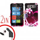 FOR HTC HD7 HD 7 Car Charger + Cover Hard Case Love 2-in-1