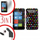 FOR HTC HD7 HD 7 Car Charger + Hard Case R-Dot + Screen 3-in-1