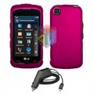 FOR LG Shine Touch KM555 Car Charger + Cover Hard Case Rose Pink 2-in-1
