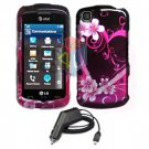FOR LG Shine Touch KM555 Car Charger + Cover Hard Case Love 2-in-1