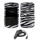 For Blackberry Bold 9780 Car Charger + Cover Hard Case Zebra 2-in-1