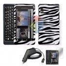 For Motorola Milestone 2 a953 Screen + Car Charger + Hard Case Zebra 3-in-1