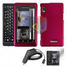 For Motorola Droid 2 a955 Screen + Car Charger + Hard Case Rose Pink 3-in-1