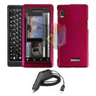For Motorola Droid 2 a955 Car Charger + Cover Hard Case Rose Pink 2-in-1