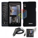 For Motorola Droid 2 a955 Screen + Car Charger + Hard Case Black 3-in-1