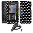 For Motorola Droid 2 a955 Car Charger + Cover Hard Case Polka Dot 2-in-1