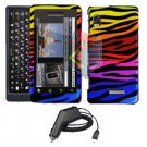 For Motorola Droid 2 a955 Car Charger + Cover Hard Case C-Zebra 2-in-1