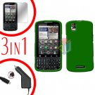 For Motorola Droid Pro A957 Screen +Car Charger +Hard Case Rubberized Green 3-in-1