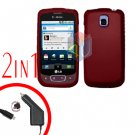 For LG Optimus-T / P509 Car Charger +Cover Hard Case Rubberized Red 2-in-1