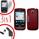 For LG Optimus-T / P509 Screen +Car Charger +Hard Case Red 3-in-1