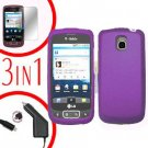For LG Optimus-T / P509 Screen +Car Charger +Hard Case Purple 3-in-1