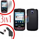 For LG Optimus-T / P509 Screen +Car Charger +Hard Case Black 3-in-1