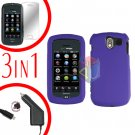 For Pantech Crux / CDM8999 Screen +Car Charger +Hard Case Rubberized Purple 3-in-1