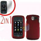 For Pantech Crux / CDM8999 Cover Hard Case Rubberized Red +Screen 2-in-1