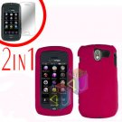For Pantech Crux / CDM8999 Cover Hard Case Rubberized Rose Pink +Screen 2-in-1