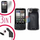 For Motorola Droid Pro A957 Screen +Car Charger +Hard Case Clear 3-in-1