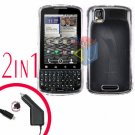 For Motorola Droid Pro A957 Car Charger +Hard Case Clear 2-in-1