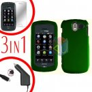 For Pantech Crux / CDM8999 Screen +Car Charger +Hard Case Rubberized Green 3-in-1
