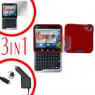 For Motorola Flipout MB511 Screen +Car Charger +Hard Case Rubberized Red 3-in-1