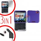 For Motorola Flipout MB511 Screen +Car Charger +Hard Case Rubberized Purple 3-in-1